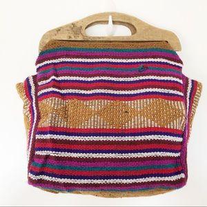 Vintage Woven Boho Festival Wooden Handbag Bag